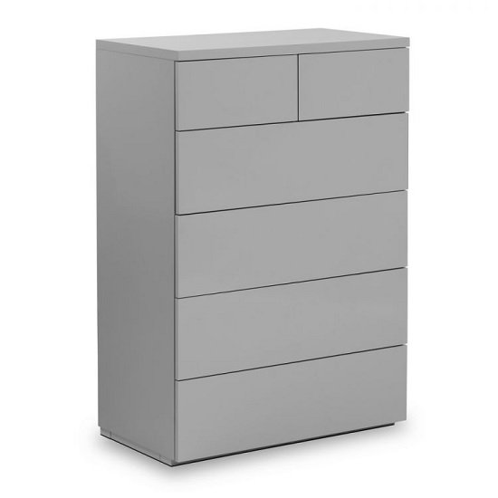 Marcus Chest Of Drawers In Grey High Gloss With 6 Drawers