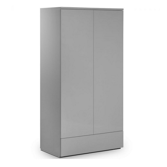 Marcus Wardrobe In Grey High Gloss With 2 Doors And 1 Drawer_1