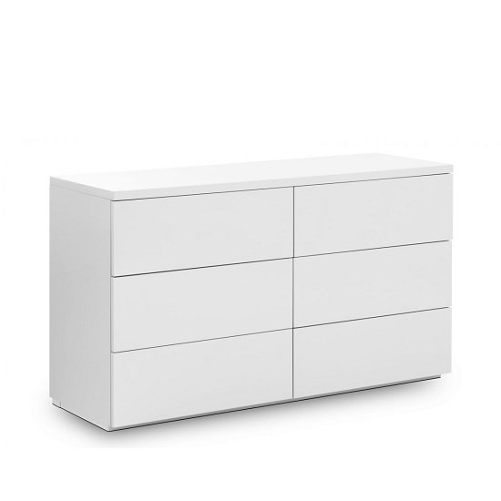 Marcus Chest Of Drawers Wide In White High Gloss With 6 Drawers_1