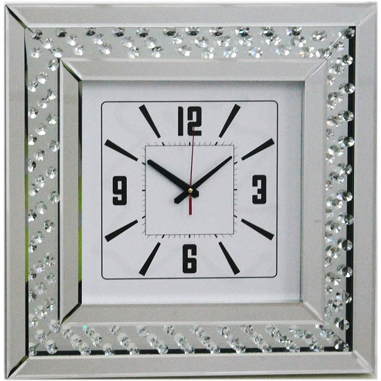 Marcus mirrored square wall clock with floating crystals for Square wall clocks uk