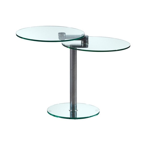 Marcy Swivel Extending Side Table In Clear Glass_3