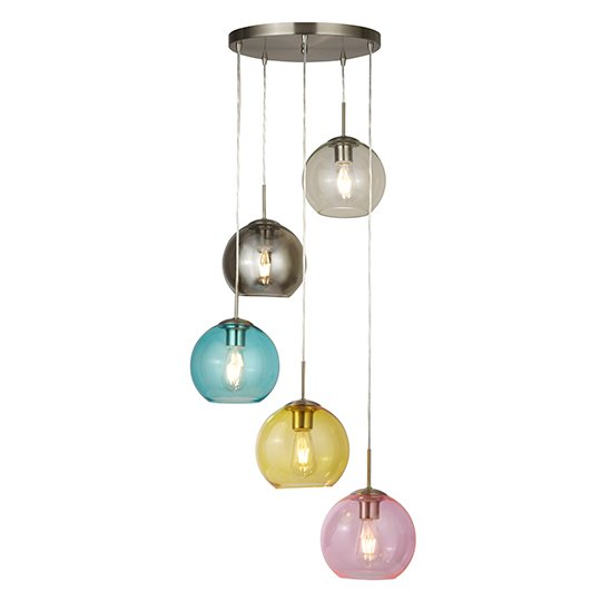 Mardi Gras 5 Lights Pendant Ceiling Light In Satin Silver