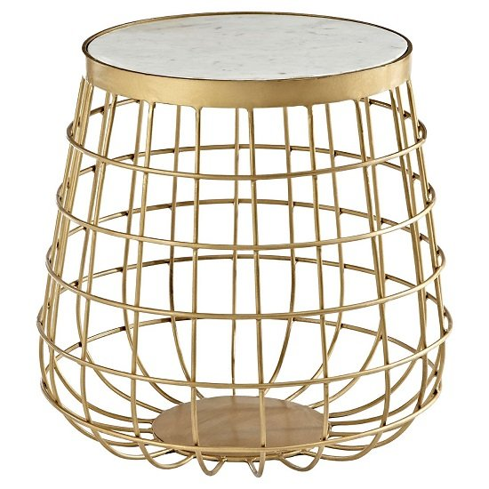 Maren Marble Top Circular Side Table With Brass Finish Frame_1