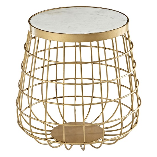 Maren Marble Top Circular Side Table With Brass Finish Frame_2