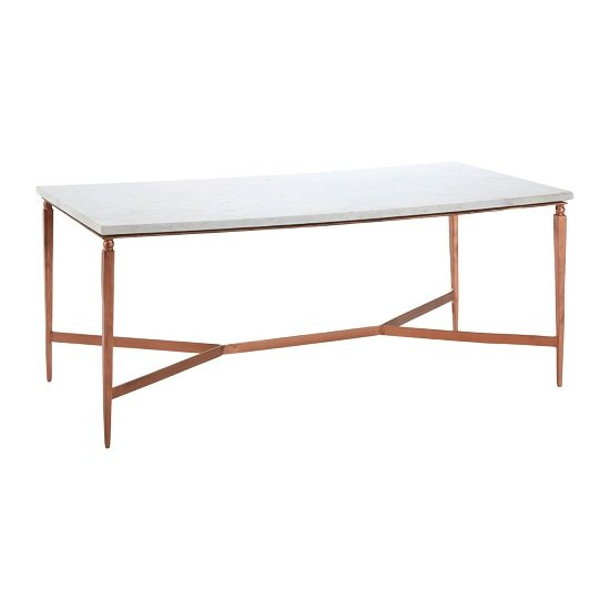 Copper Top Rectangular Coffee Table: Maren Marble Top Coffee Table In White With Copper Legs