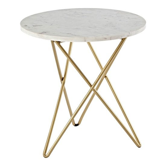 Maren Marble Top Round Side Table With Golden Frame_2