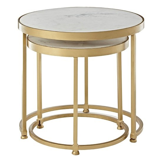 Maren Marble Top 2 Nesting Tables Round With Brass Finish Frame_1