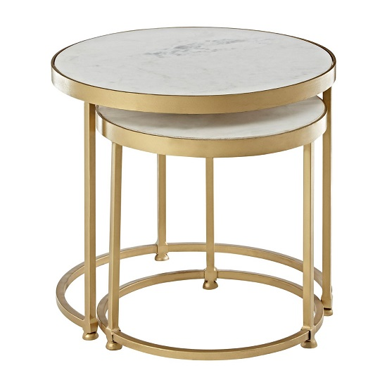 Maren Marble Top 2 Nesting Tables Round With Brass Finish Frame_2