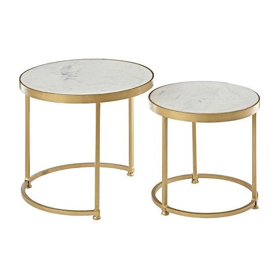 Maren Marble Top 2 Nesting Tables Round With Brass Finish Frame_3