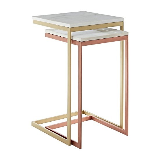 Maren Marble Top 2 Nesting Tables Copper Brass Finish Frame