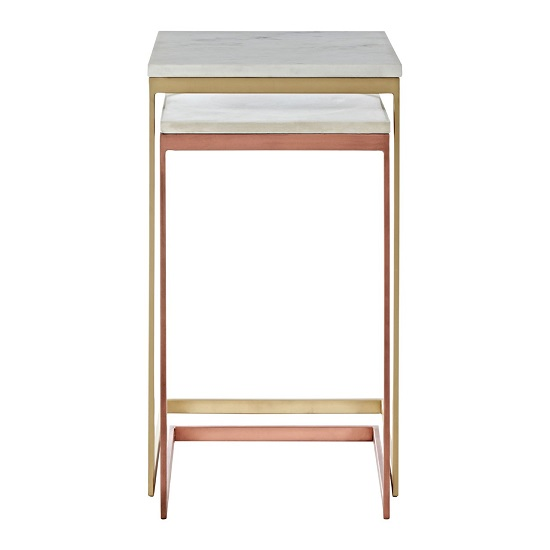 Maren Marble Top 2 Nesting Tables Copper Brass Finish Frame_2