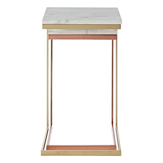 Maren Marble Top 2 Nesting Tables Copper Brass Finish Frame_4