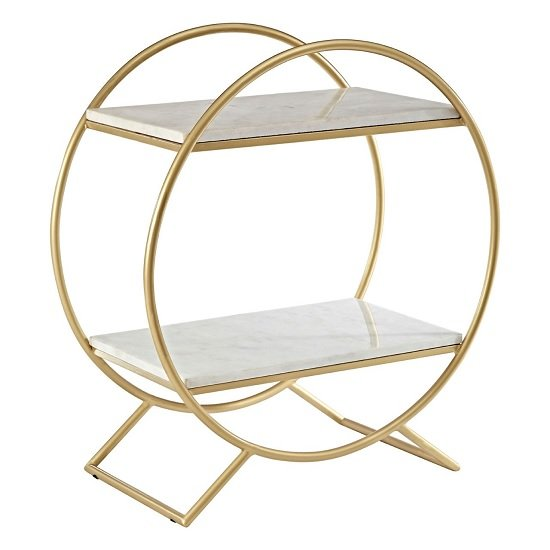 Maren Marble Shelving Unit With Gold Finish Frame