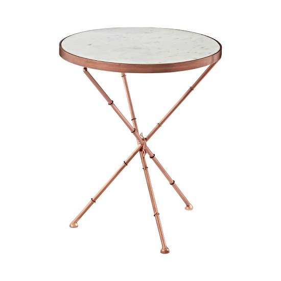 Maren Marble Top Round Side Table With Copper Finish Frame_2