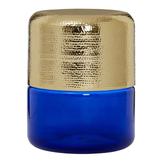 Intan Side Table In Gold With Blue Glass Base   _1