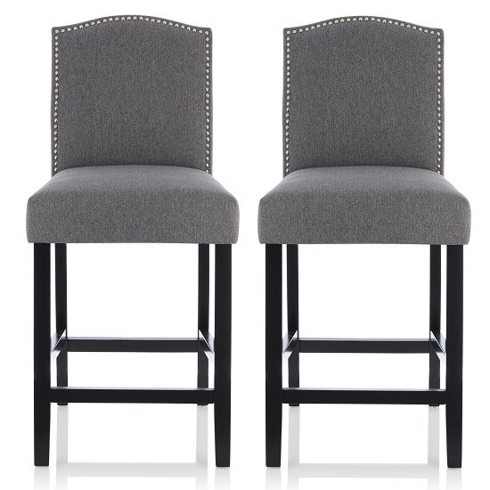 Maria Bar Stools In Grey Fabric With Black Legs In A Pair