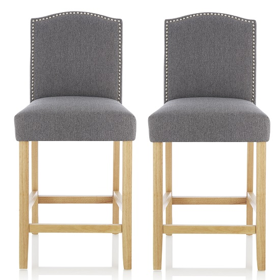 Maria Bar Stools In Grey Fabric With Oak Legs In A Pair