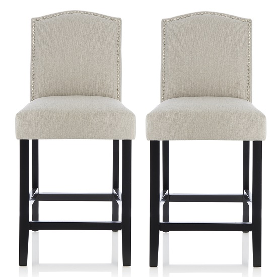 Maria Bar Stools In Mink Fabric With Black Legs In A Pair
