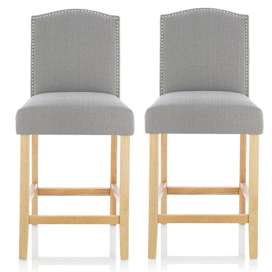 Maria Bar Stools In Monochrome Fabric With Oak Legs In A Pair