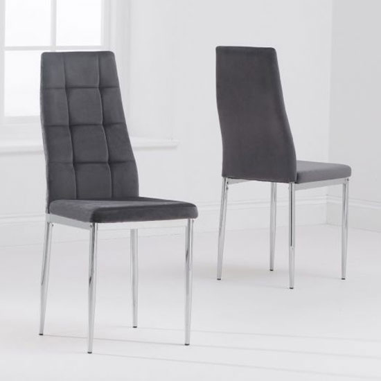 Maria Grey Fabric Dining Chairs In A Pair