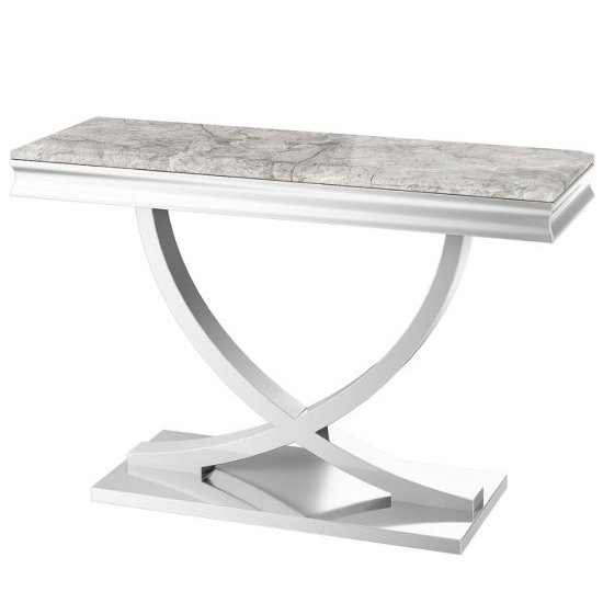 Product photograph showing Maria Marble Console Table In Light Grey