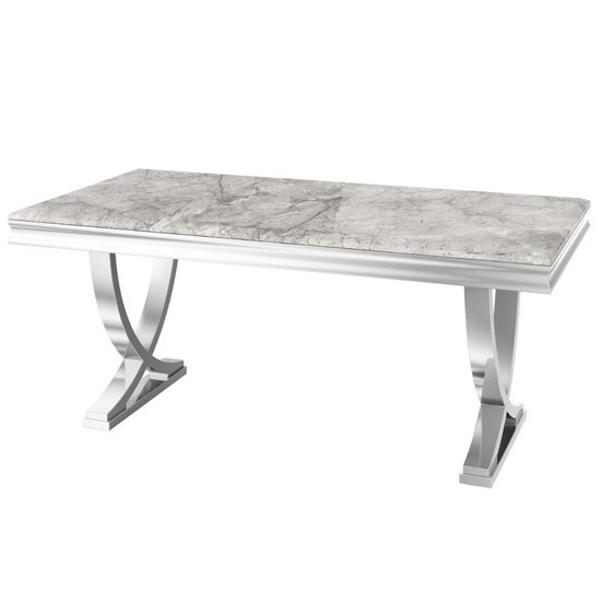 Maria Marble Dining Table In Light Grey