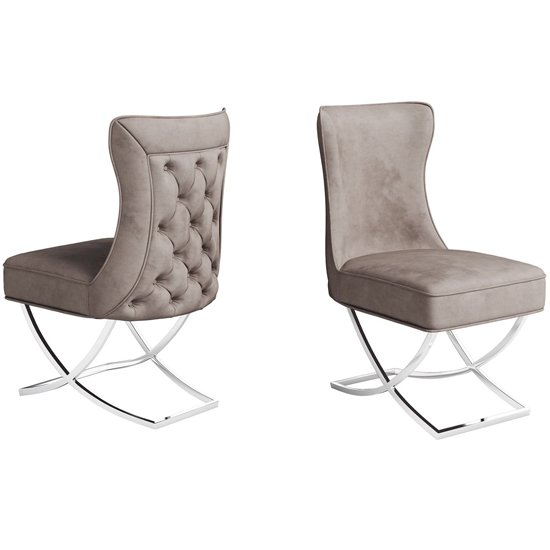Maria Mink Velvet Fabric Dining Chairs In Pair_1