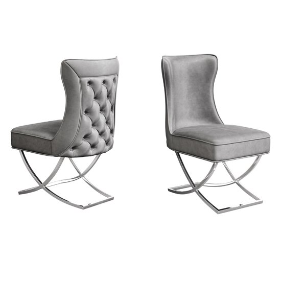 Maria Silver Grey Velvet Fabric Dining Chairs In Pair