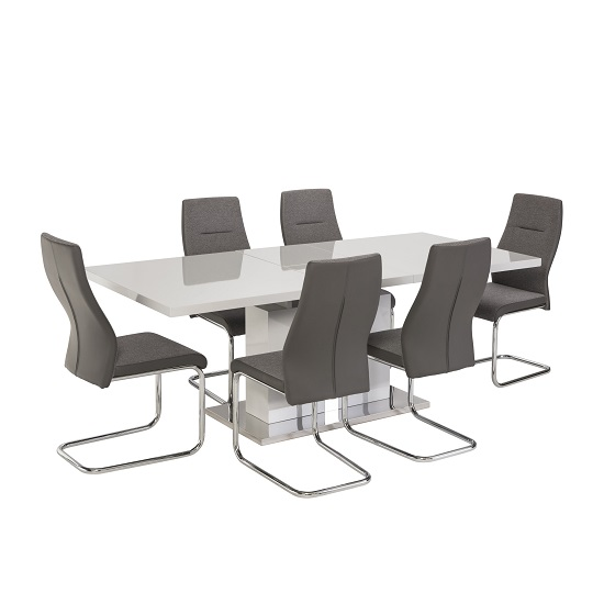 Mariana 6 Seater Extendable Dining Set In Grey High Gloss