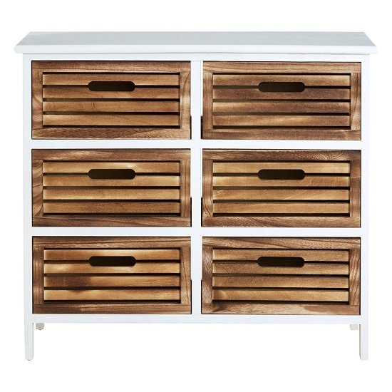 Marie Wooden Chest Of Drawers In White With 6 Drawers