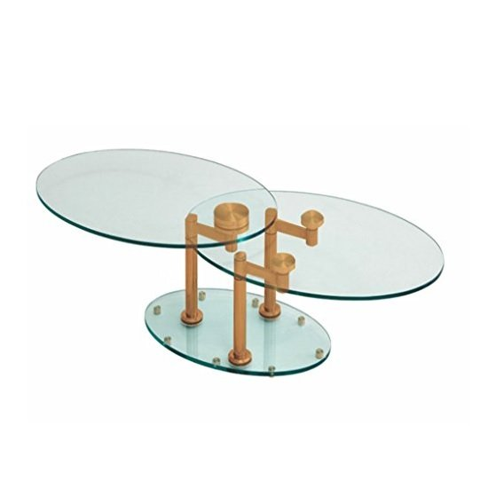Mariella Rotating Glass Coffee Table With Rosegold Base