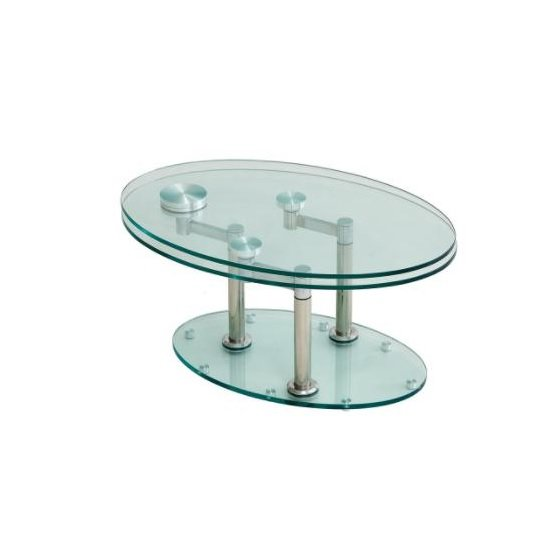 Mariella Rotating Glass Coffee Table With Silver Base