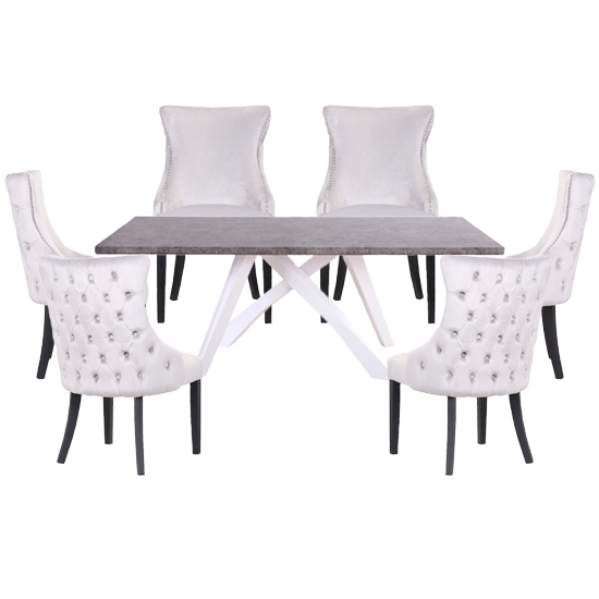 Marigje Wooden Dining Set With 6 Silver Boston Chairs
