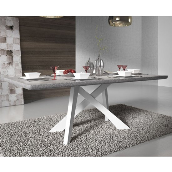 Marigje Wooden Dining Table In Grey Marble Effect And White