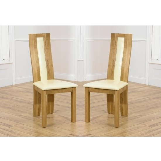 Marila Dining Chair In Cream PU With Solid Oak Frame In A Pair