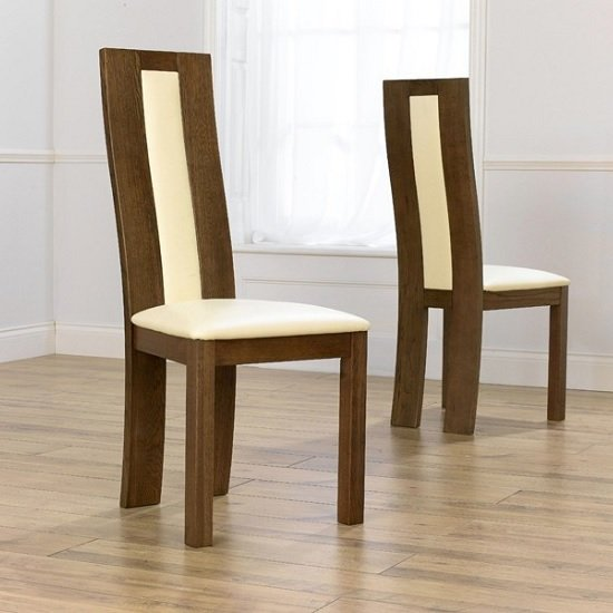 Marila Dining Chair In Cream PU With Dark Oak Frame In A Pair
