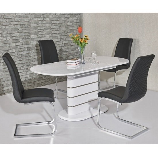 Marila Large Gloss Extendable Dining Set And 6 Orly Grey Chairs