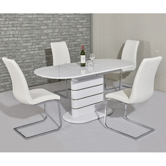 Marila Large Extendable Dining Set In White Gloss 6 Orly Chairs