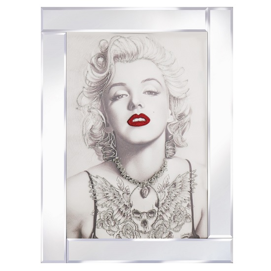 Marilyn monroe glass wall art in mirrored frame with red for Kitchen cabinets lowes with wall art marilyn monroe