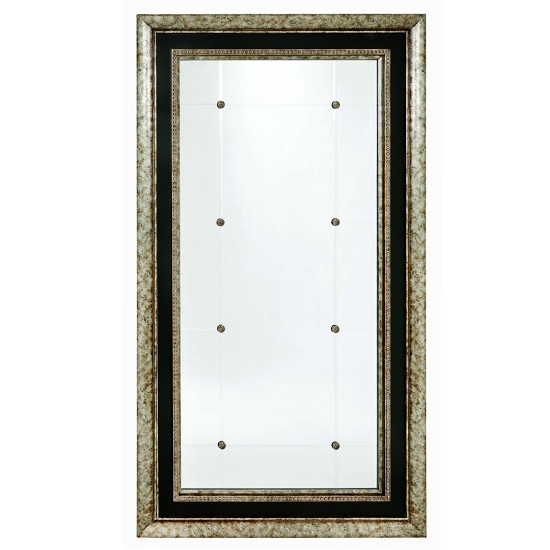 Read more about Marilyn wall mirror rectangular in black gesso and silver leaf