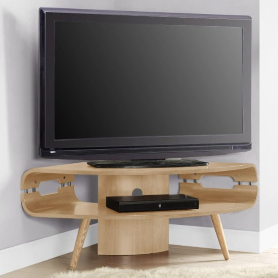 Marin Corner Wooden TV Stand In Oak With Spindle Shape Legs