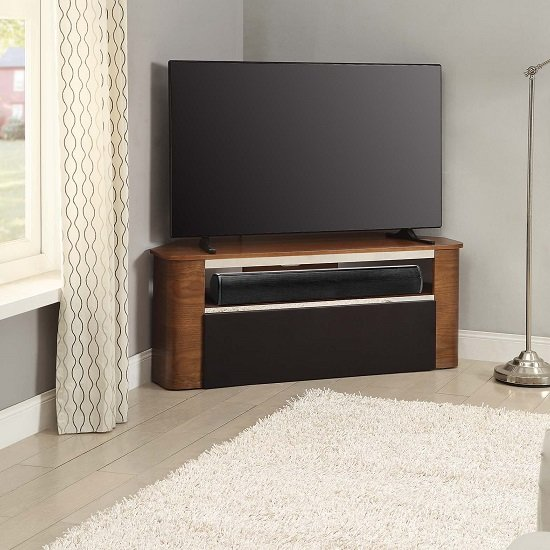marin wooden corner acoustic tv stand in walnut 28165. Black Bedroom Furniture Sets. Home Design Ideas