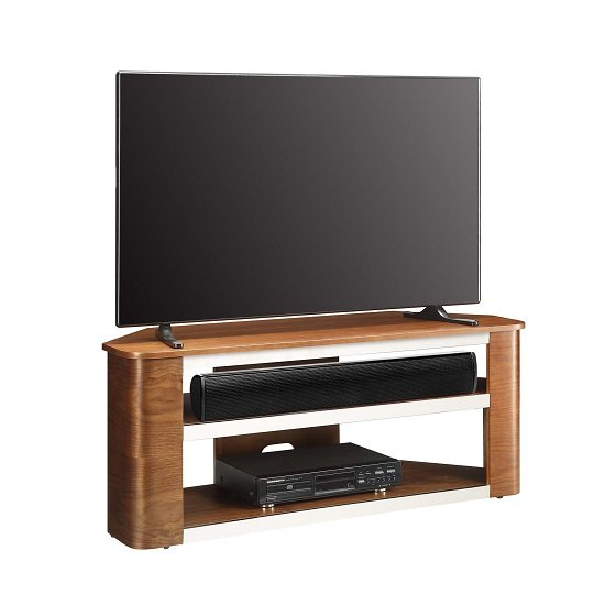 Marin Wooden Corner Acoustic TV Stand In Walnut 28165