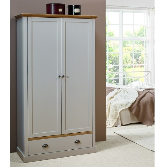 Marina Wooden Wardrobe In Grey Pine With 2 Doors