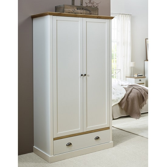 Marina Wooden Wardrobe In White Pine With 2 Doors