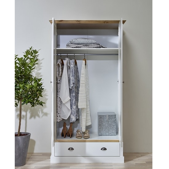 Marina Wooden Wardrobe In White Pine With 2 Doors_2