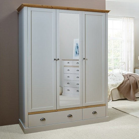Marina Mirrored Wardrobe In Grey Pine With 3 Doors