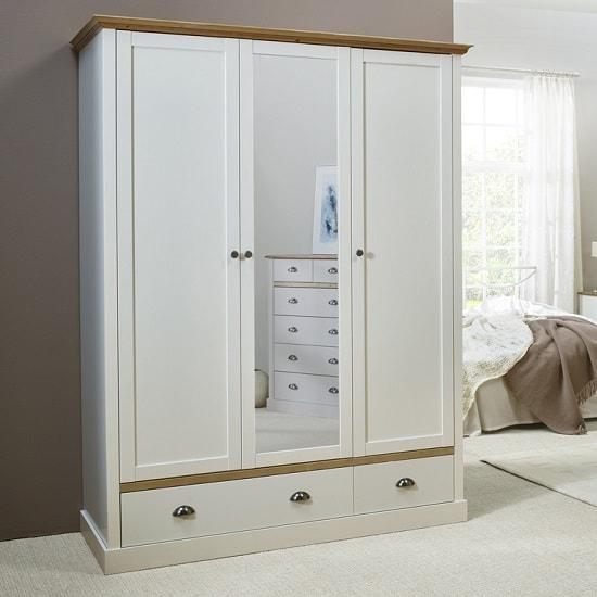 Marina Mirrored Wardrobe In White Pine With 3 Doors