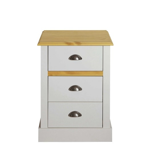 Marina Wooden Bedside Cabinet In Grey Pine With 3 Drawers_2