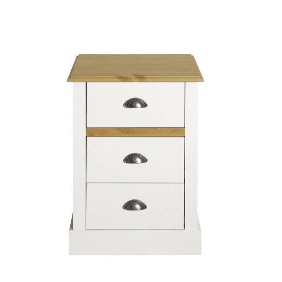 Marina Wooden Bedside Cabinet In White Pine With 3 Drawers_2